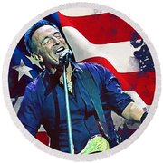 Bruce Springsteen Round Beach Towel by Afterdarkness