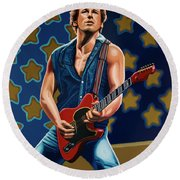 Bruce Springsteen The Boss Painting Round Beach Towel by Paul Meijering