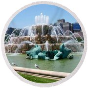 Buckingham Fountain Round Beach Towel by Anita Burgermeister