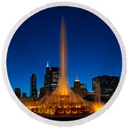 Buckingham Fountain Nightlight Chicago Round Beach Towel by Steve Gadomski