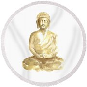 Buddha Watercolor Art Print Painting Round Beach Towel by Joanna Szmerdt