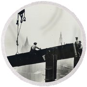 Building The Empire State Building Round Beach Towel by LW Hine