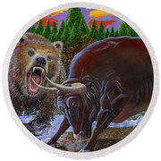 Bull And Bear Round Beach Towel by Carey Chen