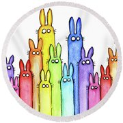 Bunny Rainbow Pattern Round Beach Towel by Olga Shvartsur