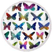 Butterflies Round Beach Towel by Varpu Kronholm