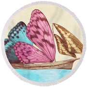 Butterfly Ship Round Beach Towel by Eric Fan