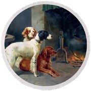 By The Fire Round Beach Towel by Alfred Duke