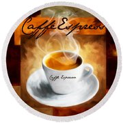 Caffe Espresso Round Beach Towel by Lourry Legarde