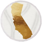 California Gold- Art By Linda Woods Round Beach Towel by Linda Woods