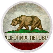 California Republic State Flag Retro Style Round Beach Towel by Bruce Stanfield