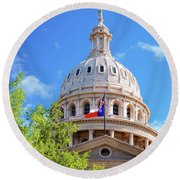 Capitol Of Texas - State Building - Austin Texas Round Beach Towel by Gregory Ballos