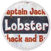 Captain Jack's Lobster Shack Round Beach Towel by Debbie DeWitt