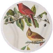 Cardinal Grosbeak Round Beach Towel by John James Audubon