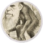 Caricature Of Charles Darwin Round Beach Towel by English School