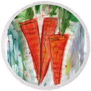 Carrots Round Beach Towel by Linda Woods