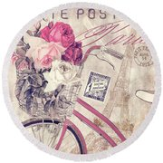 Carte Postale Bicycle Round Beach Towel by Mindy Sommers