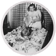 Carving The Thanksgiving Turkey Round Beach Towel by American School