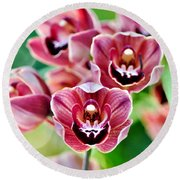 Cascading Miniature Orchids Round Beach Towel by Kaye Menner