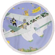 Cat Air Show Round Beach Towel by Pat Scott