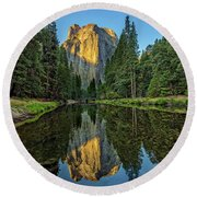 Cathedral Rocks Morning Round Beach Towel by Peter Tellone