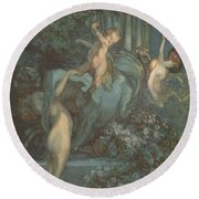 Centaur Nymphs And Cupid Round Beach Towel by Franz von Bayros
