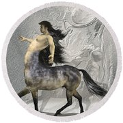 Centaur Warm Tones Round Beach Towel by Quim Abella