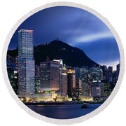 Central District Hong Kong Asia Round Beach Towel by Panoramic Images