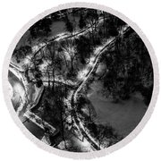 Round Beach Towel featuring the photograph Central Park Trails by M G Whittingham