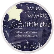 Chalk Board Nursery Rhymes Round Beach Towel by Mindy Sommers