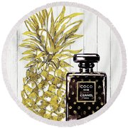 Chanel  Noir Perfume With Pineapple Round Beach Towel by Del Art