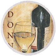 Chardonnay Wine And Grapes Round Beach Towel by Debbie DeWitt