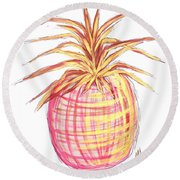 Chic Pink Metallic Gold Pineapple Fruit Wall Art Aroon Melane 2015 Collection By Madart Round Beach Towel by Megan Duncanson
