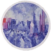 Chicago Round Beach Towel by Bayo Iribhogbe