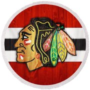 Chicago Blackhawks Barn Door Round Beach Towel by Dan Sproul