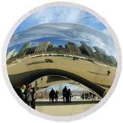 Chicago Reflected Round Beach Towel by Kristin Elmquist