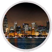Chicago Skyline At Night Extra Wide Panorama Round Beach Towel by Jon Holiday