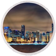 Chicago Skyline At Night Panorama Color 1 To 3 Ratio Round Beach Towel by Jon Holiday
