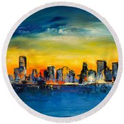Chicago Skyline Round Beach Towel by Elise Palmigiani