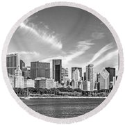 Chicago Skyline Panorama Black And White Round Beach Towel by Christopher Arndt