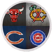 Chicago Sports Fan Recycled Vintage Illinois License Plate Art Bulls Blackhawks Bears And Cubs Round Beach Towel by Design Turnpike