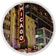 Chicago Theater Aglow Round Beach Towel by Frozen in Time Fine Art Photography