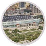 Chicago's Soldier Field Aerial Round Beach Towel by Adam Romanowicz