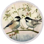 Chickadee Love Round Beach Towel by Melly Terpening