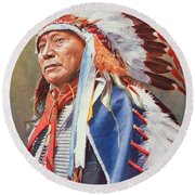 Chief Hollow Horn Bear Round Beach Towel by American School