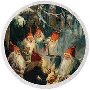Christmas Gnomes Round Beach Towel by English School