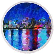 City Limits Tokyo Round Beach Towel by Sir Josef - Social Critic - ART