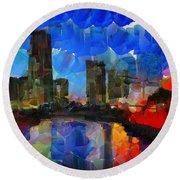 City Living - Tokyo - Skyline Round Beach Towel by Sir Josef Social Critic - ART