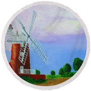 Round Beach Towel featuring the painting Cley Mill by Rodney Campbell