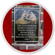 Clinton House Museum 2 Round Beach Towel by Randall Weidner