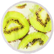 Close Up Of Kiwi Slices Round Beach Towel by Jorgo Photography - Wall Art Gallery